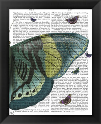 Metaverse Art Butterfly in Turquoise and Yellow bFramed Wall Art