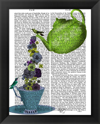 Metaverse Art Teapot Cup and Flowers Green and Blue Framed Wall Art