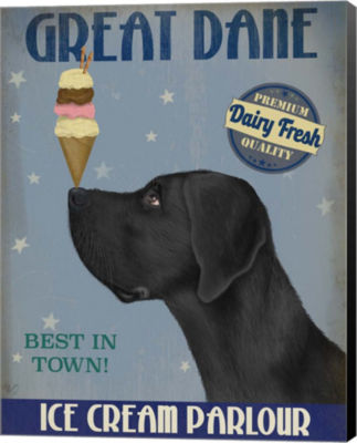 Metaverse Art Great Dane Black Ice Cream Canvas Wall Art