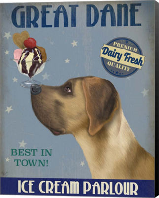 Metaverse Art Great Dane Tan Ice Cream Canvas WallArt