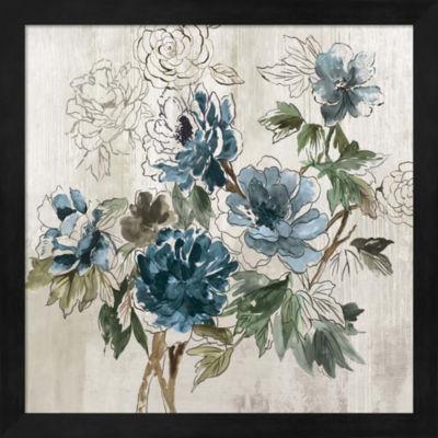 Metaverse Art Blue Floral I Framed Wall Art