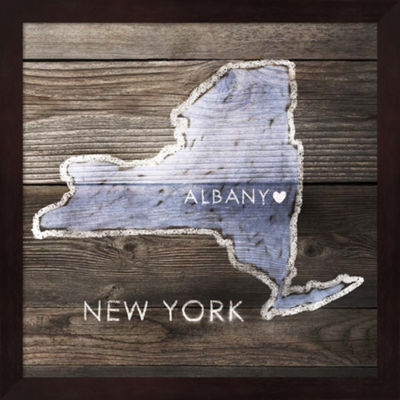 Metaverse Art New York Rustic  Map Framed Wall Art