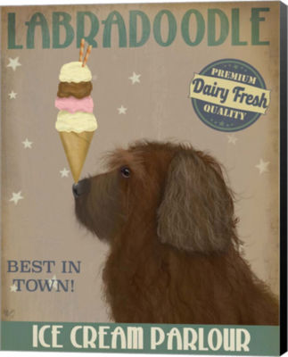 Metaverse Art Labradoodle Brown Ice Cream Canvas Wall Art
