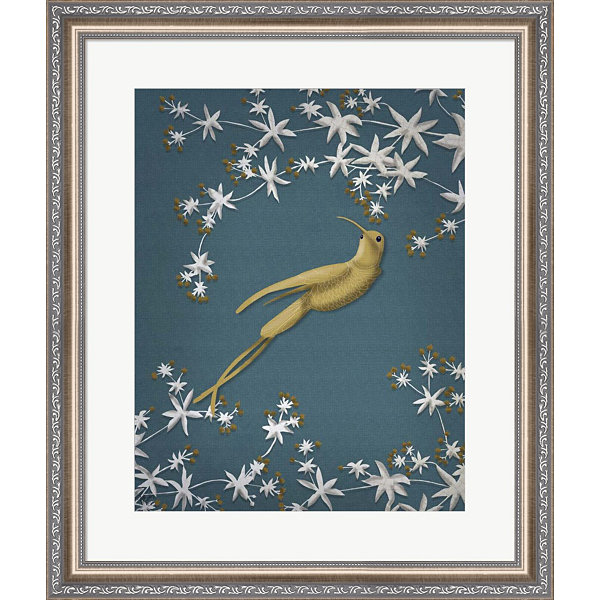 Metaverse Art Golden Hummingbird 2 Framed Wall Art