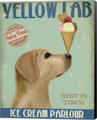 Metaverse Art Yellow Labrador Ice Cream Canvas Wall Art