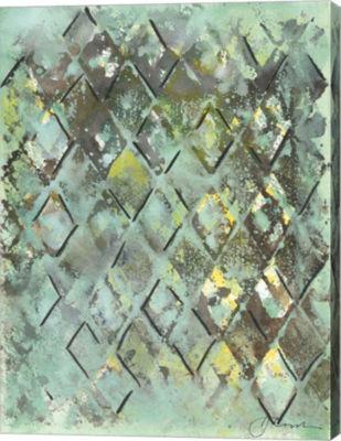 Metaverse Art Lattice in Green I Canvas Wall Art