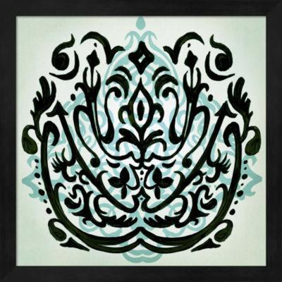 Metaverse Art Ornamental Navy Pattern I Framed Wall Art