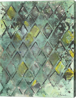 Metaverse Art Lattice in Green II Canvas Wall Art