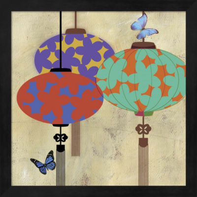Metaverse Art Butterfly Lanterns Framed Wall Art