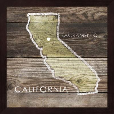 Metaverse Art California Rustic Map Framed Wall Art