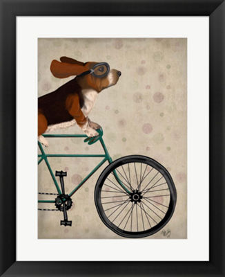 Metaverse Art Basset Hound on Bicycle Framed WallArt