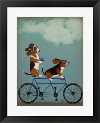 Metaverse Art Basset Hound Tandem Framed Wall Art