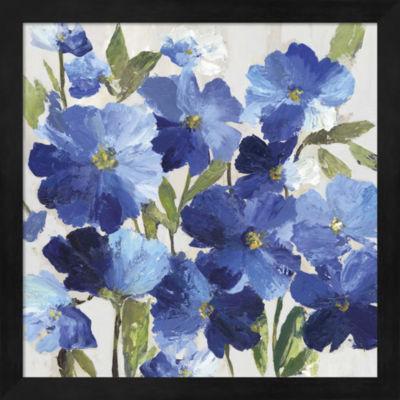 Metaverse Art Cobalt Poppies I Framed Wall Art