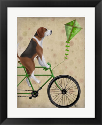 Metaverse Art Beagle on Bicycle Framed Wall Art
