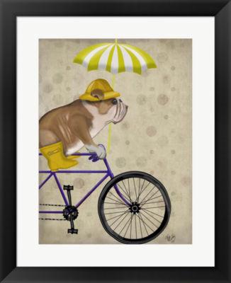 Metaverse Art English Bulldog on Bicycle Framed Wall Art