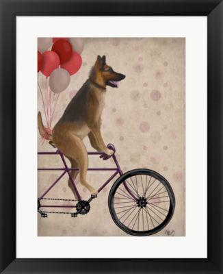 Metaverse Art German Shepherd on Bicycle Framed Wall Art