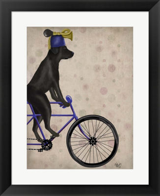 Metaverse Art Black Labrador on Bicycle Framed Wall Art