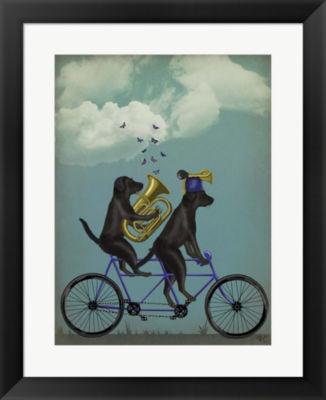 Metaverse Art Black Labrador Tandem Framed Wall Art