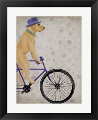 Metaverse Art Yellow Labrador on Bicycle Framed Wall Art