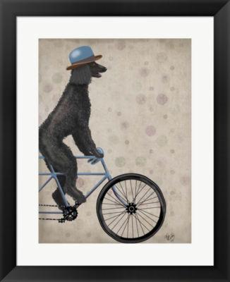 Metaverse Art Poodle on Bicycle Black Framed WallArt