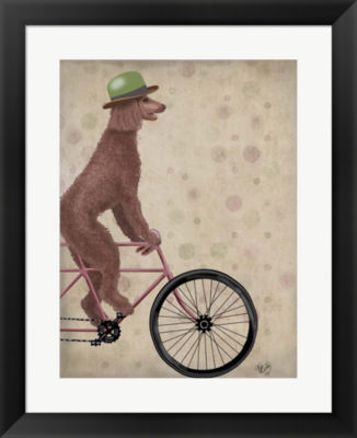 Metaverse Art Poodle on Bicycle Brown Framed WallArt