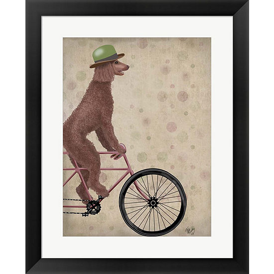 Metaverse Art Poodle on Bicycle Brown Framed WallArt - JCPenney