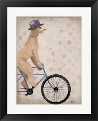Metaverse Art Poodle on Bicycle Cream Framed WallArt
