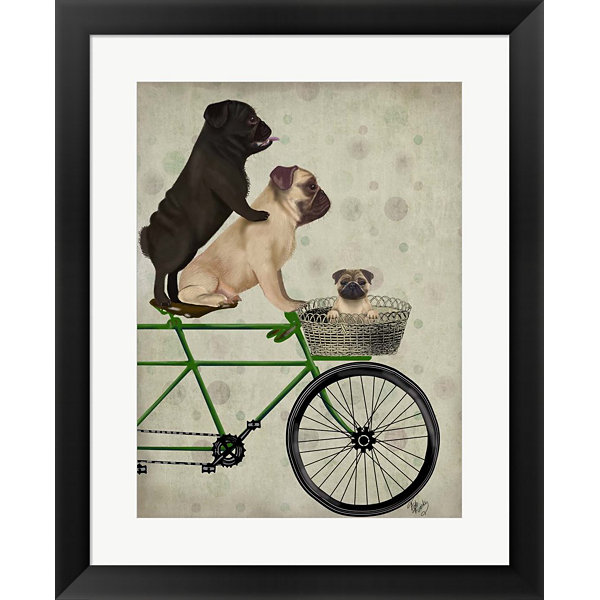 Metaverse Art Pugs on Bicycle Framed Wall Art