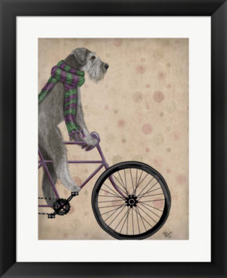 Metaverse Art Schnauzer on Bicycle Grey Framed Wall Art