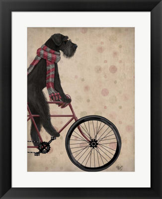Metaverse Art Schnauzer on Bicycle Black Framed Wall Art