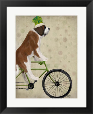 Metaverse Art St Bernard on Bicycle Framed Wall Art