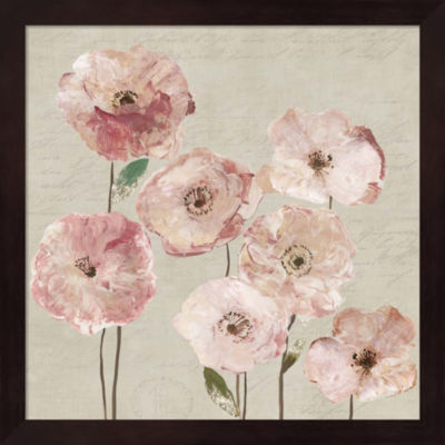 Metaverse Art Delicate Pink Flowers Framed Wall Art