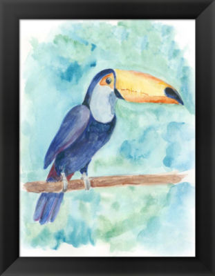 Metaverse Art Sweet Tropical Bird I Framed Wall Art
