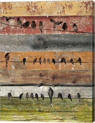 Metaverse Art Birds on Wood I Canvas Wall Art