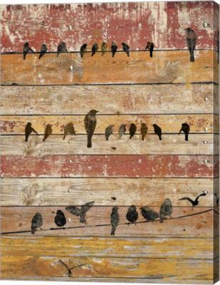 Metaverse Art Birds on Wood II Canvas Wall Art
