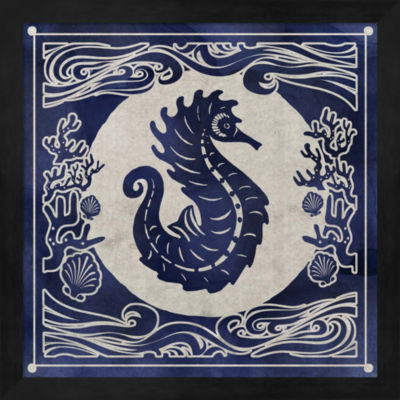 Metaverse Art Ink Seahorse Framed Wall Art