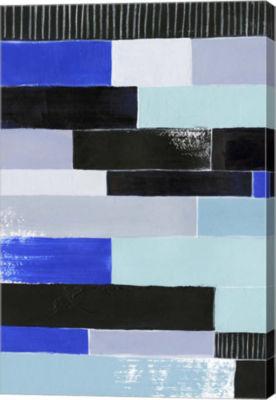 Metaverse Art Black & Blue Bricks I Canvas Wall Art