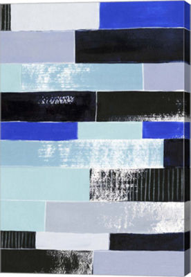 Metaverse Art Black & Blue Bricks II Canvas Wall Art