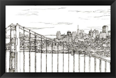 Metaverse Art Skyline Sketch II Framed Wall Art