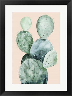 Metaverse Art Cactus on Coral II Framed Wall Art