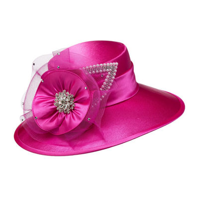 Giovanna Signature Women's Satin Covered Hat with Mesh and Rhinestone Trims