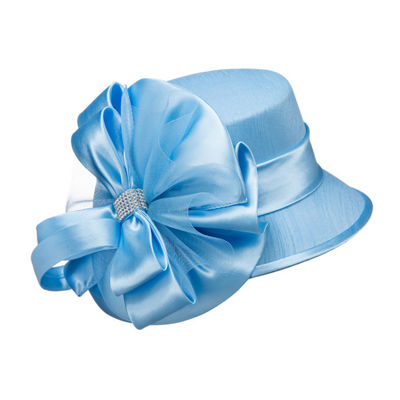 Giovanna Signature Women's Fabric Covered Hat with Big Satin Flower