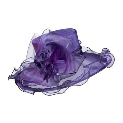 Giovanna Signature Women's Organza Wide Brim Hat with Flower and Feather Trim