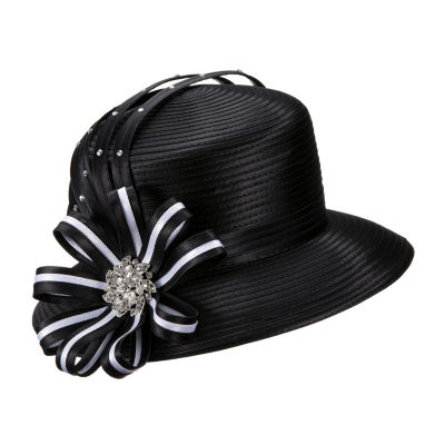 Giovanna Signature Women's Black&White Rhinestone-embellished Ribbon Hat