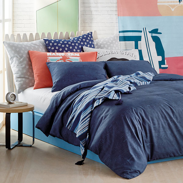 Hang Ten Navy Woodgrain Comforter and Sham Set