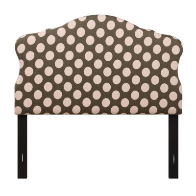 Dana Polka Dot Nail Head Trim Upholstered Headboard