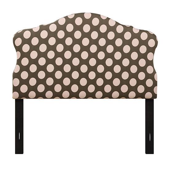 Dana Polka Dot Nail Head Trim Upholstered Headboard