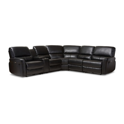 Baxton Studio Amaris Power Reclining Sectional Sofa with USB Ports
