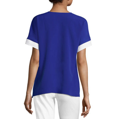 Project Runway Colorblock V-Neck Blouse