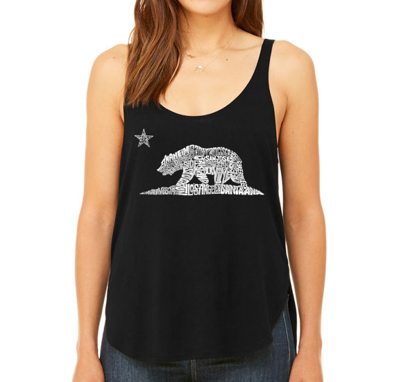 Los Angeles Pop Art Women's Premium Word Art Flowy Tank Top - California Bear
